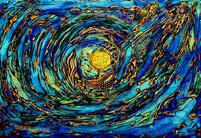 Blau, Wasser, Malerei, Abstrakt