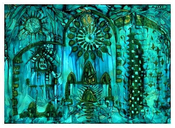 Architektur, Magie, Altar, Malerei, Türkis