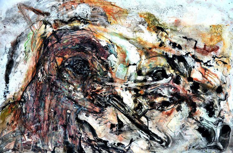 Kopf, Malerei, Menschen, Zerrissenheit, Gesicht, Wahnsinn