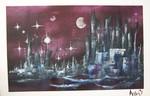 Universum, Stadt, Abstrakt, Mond