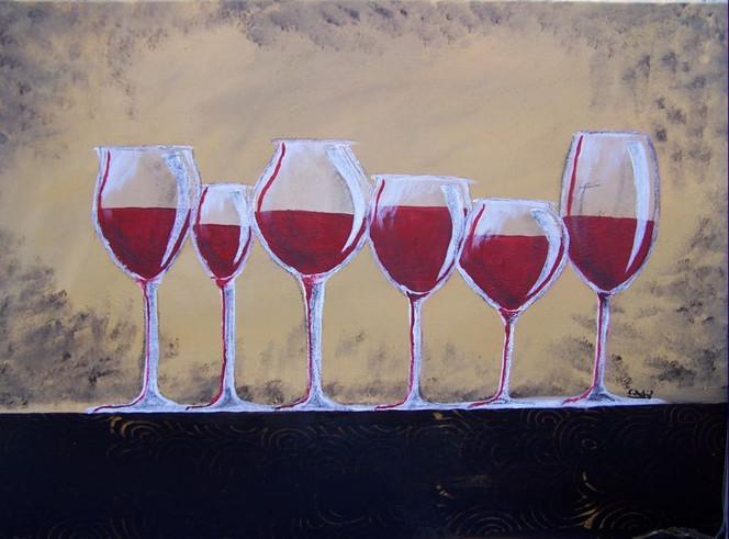 Stillleben, Weingläser, Wein, Glas, Rustikal, Malerei