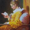 Die leserin, Buch, Die lesende, Sofa