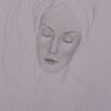 Gesicht, Portrait mit handtuch, Bleistiftzeichnung, Junge frau