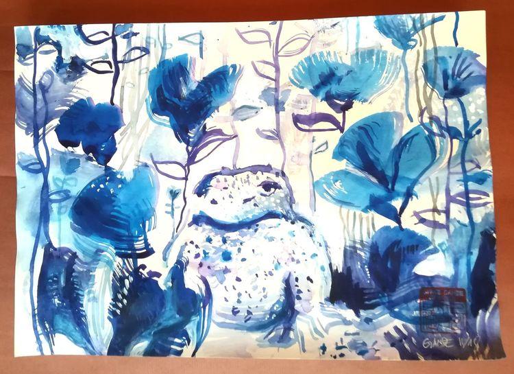 Kröte, Meditation, Warten, Freude, Blau, Zen
