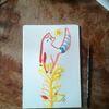 Blumen, Rot, Katze, Aquarell