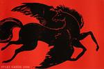 Rot, Holzschnitt, Pony, Flugroß