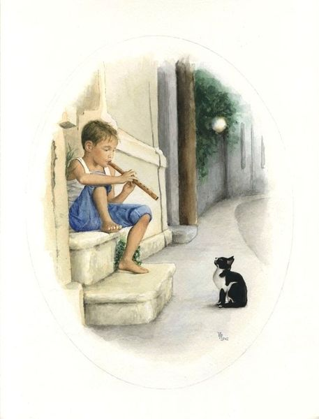 Junge, Katze, Malerei, Tiere