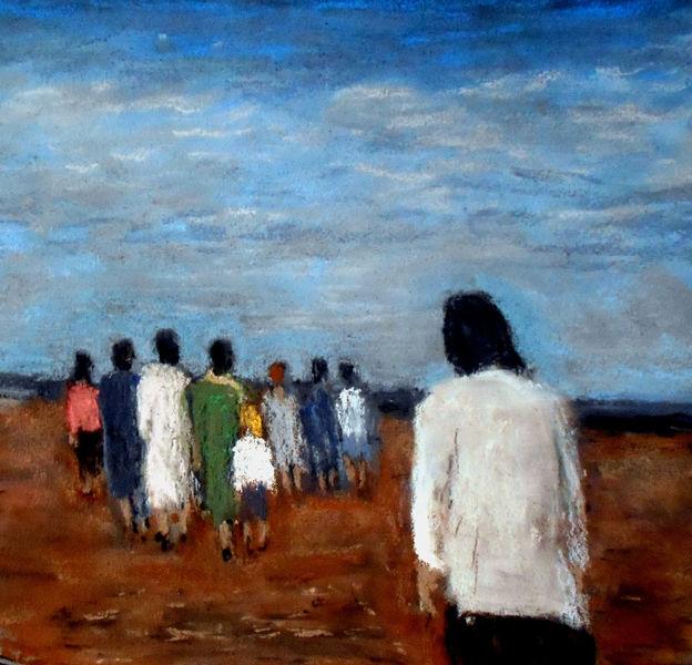 Frau, Kinder, Figur, Menschen, Landschaft, Malerei