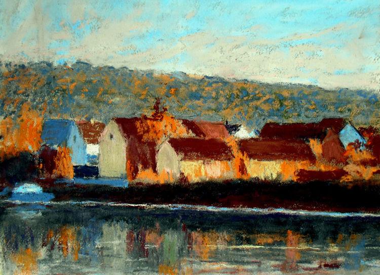 Herbst, Fluss, Häuser, Spiegelung, Malerei
