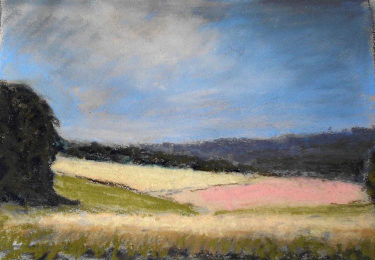 Feld, Hügel, Himmel, Sommer, Malerei, Landschaft