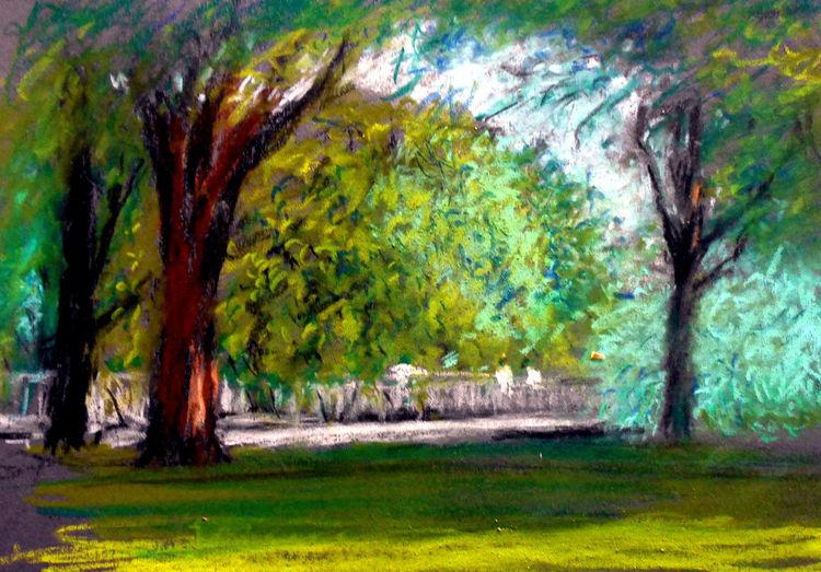Brücke, Park, Menschen, Baum, Grün, Malerei