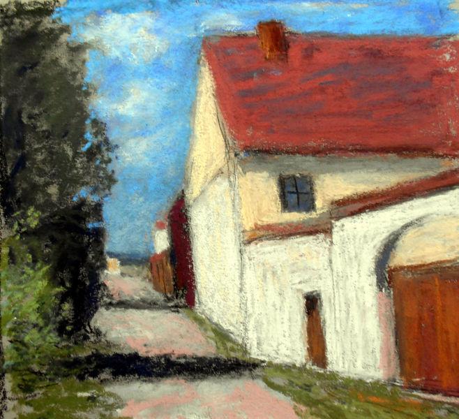 Haus, Baum, Himmel, Malerei