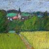 Donau, Hügel, Feld, Kirche