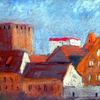 Dach, Alte stadt, Malerei,