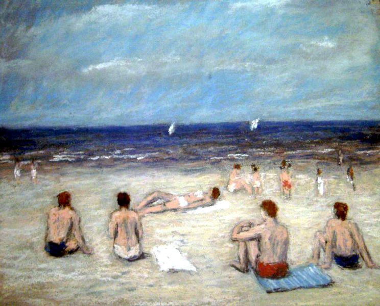 Menschen, Sommer, Strand, Meer, Nordsee, Malerei