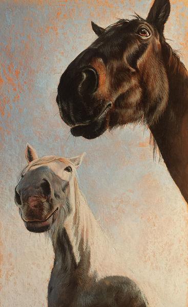 Pony, Pferde, Malerei, Zaun