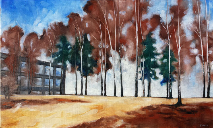 Birken, Baum, Landschaft, Ölmalerei, Malerei, Schule