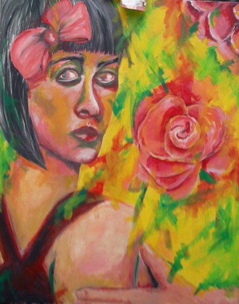 Frau, Rose, Malerei, Menschen, Frühlingsgefühle