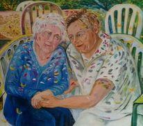Senioren, Herbst, Garten, Portrait