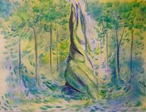 Natur wald, Baum, Grün gestalt, Malerei