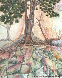Aquarellmalerei, Buntstiftzeichnung, Baum, Grafit