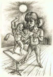 Muskulatur, Bodybuilding kraft, Betreuerin, Frau