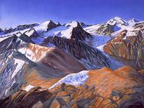 Ölmalerei, Bergbilder, Landschaftsmalerei, Zeichnungen
