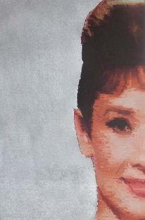 Portrait, Mischtechnik, Malerei, Audrey hepburn
