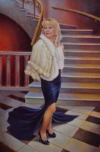 Weibliches portrait, Portrait nach foto, Portrait, Malerei
