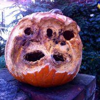 Schnitzkunst, Gesicht, Kürbisse, Happy halloween