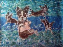 Boston terrier, Aquarellmalerei, Under water dog, Aquarell