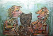 Zusammen, Vertrauen, Katze, Kind