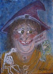 Frosch, Halloween, Aquarellmalerei, Hexe