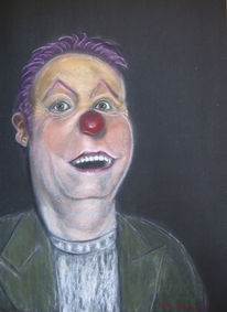 Lachen, Berlin, Pastellmalerei, Clown