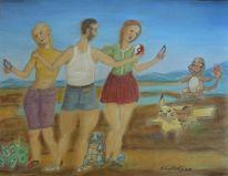 Menschen, Malerei, Frosch, Sommer