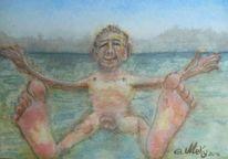 Lachen, Schnuller, Strand, Malerei