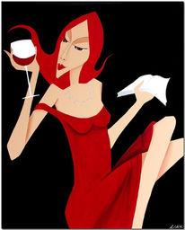 Dame, Diva, Rot, Acrylmalerei
