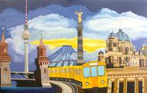 Acrylmalerei, Berlin, Berliner fernsehturm, Gemälde
