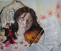 Geige, Noten, Tango, Blüte