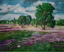 Wolken, Heide, Baum, Malerei