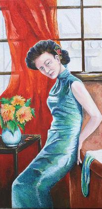 Frau, Fenster, Kleid, Blumen