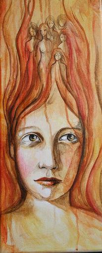 Augen, Haare, Mädchen, Malerei