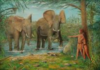 Tiere, Wasser, Elefant, See