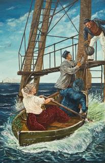 Menschen, Ruderin, Ruderboot, Welle