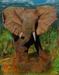 Tiermalerei, Phantastischer realismus, Elefant, Wut