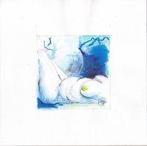 Tuschmalerei, Blau, Brust, Aquarellmalerei