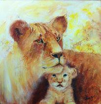 Löwin, Portrait, Löwenbaby, Tiere