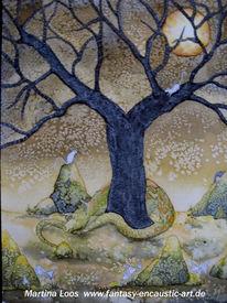Aquarellmalerei, Drache, Landschaft, Baum
