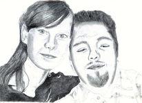 Zeichnung, Gesicht, Auftragszeichnung, Portrait