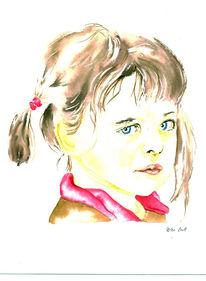 Zeichnung, Kids, Portrait, Kinder